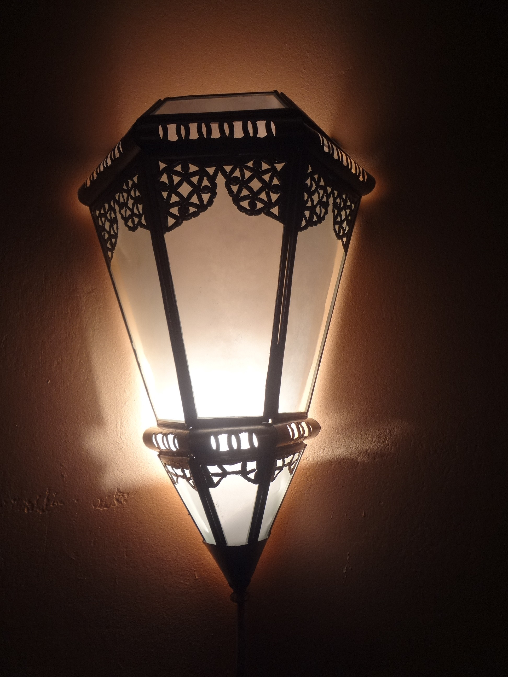 Wandlampe mit Glas, Kupfer